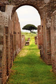 Ancient Roman Arch Walls Street Ostia Antica Rome Italy — Stock Photo