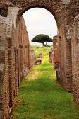 Ancient Roman Arch Walls Street Ostia Antica Rome Italy — Stock Photo