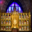 Golden Altar with Blue Stained Glass Background, Temple of Atone — Stockfoto