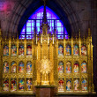 Golden Altar with Blue Stained Glass Background, Temple of Atone — Stock Photo