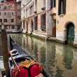 Small Side Canal Bridge Gondola Venice Italy - Stock Photo
