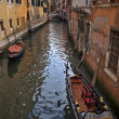 Stock Photo: Small Side Canal Bridge Gondola Venice Italy