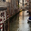 Side Canal Poles Bridges Venice Italy — Stock Photo