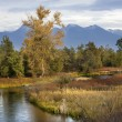 Stock Photo: River Snow Mountains Fall Colors National Bison Range Charlo Mon
