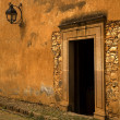 Yellow Brown Adobe Wall and Door Plus Lantern — Stock Photo