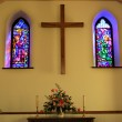 Church Interior With Stained Glass Windows — Stock Photo