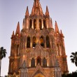 Stock Photo: Evening Church Lights ParroquiArchangel Church SMiguel Mexi