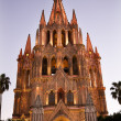 Evening Church Lights Parroquia Archangel Church San Miguel Mexi - Stock Photo
