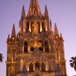 Night Church Lights Parroquia Archangel Church San Miguel Mexico — Stock fotografie #6110621
