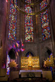 Temple of Atonement Stained Glass Altar Close — Stock Photo