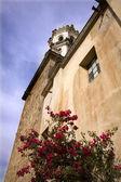 White Stone Church Red Bouganvillea Mexico — Stock Photo