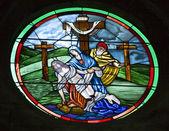 San chiesa per il arcangelo parroquia finestra vetrata miguel mexic — Foto Stock