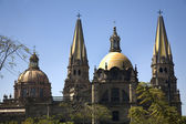 Guadalajara Cathedral Overview Two Domes Two Spires — Stock Photo