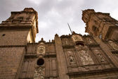 Main Cathedral Steeples Looking Up Morelia Mexico — Stock Photo