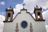 White Adobe Church Steeples Morelia Mexico — Stock Photo