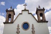 White Adobe Church Steeples Morelia Mexico — Стоковое фото