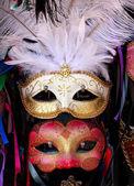 White Red Venetian Masks White Feathers Venice Italy — Stock Photo