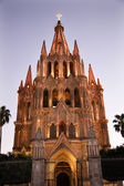 Evening Church Lights Parroquia Archangel Church San Miguel Mexi — Stock Photo