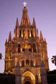 Night Church Lights Parroquia Archangel Church San Miguel Mexico — Stock Photo