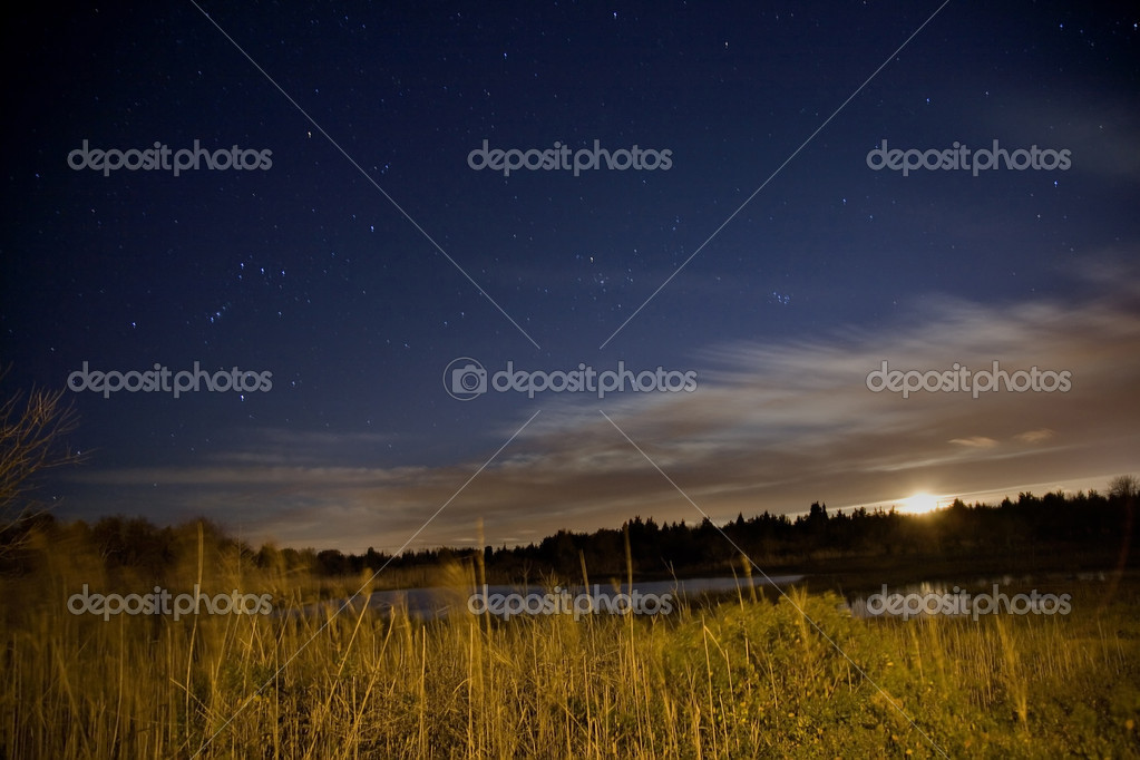 Salt Water Marsh at Night Under Stars and Moon with Orion Constellation — Stock Photo #6110500