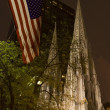 St. Patrick's Cathedral at Night with US Flag New York City — Stock Photo