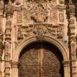 Ornate Wooden Door Valencia Church Guanajuato Mexico — Stock Photo