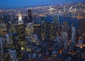 New York City Skyline East River Chrysler Building Night — Stock Photo