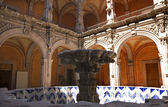 Blue White Fountain Orange Arches Scultures Queretaro Mexico — Stock Photo