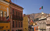Colorful Street with Flags Guanajuato Mexico — Stock Photo