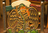 Wooden Carved Chair Symbol of Mexico Eagle Holding Snake — Stock Photo