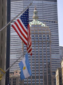 Park Avenue Building Grand Central Terminal with Flags New York — Stock Photo