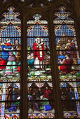 Iriish Saint Stained Glass St. Patrick's Cathedral New York Cit — Stock Photo