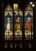 Saints Pope Stained Glass Long St. Patrick's Cathedral New York — Stock Photo