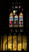 Statue Stained Glass Long St. Patrick's Cathedral New York City — Stock Photo