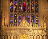 Trinity Church New York City Inside Stained Glass Altar Close Up — Stock Photo