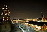 Metropolitan Cathedral Zocalo Mexico City at Night — Stock Photo