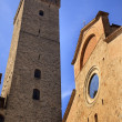 Collegiate Church Cross Costarella Tower Torre Grosse Rognosa Sa — Stock Photo