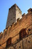 Medeltida sten torn rådhuset san gimignano Toscana Italien — Stockfoto