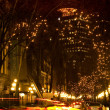 Gas Town Vancouver, BC Canada At Night with Car Trails — Stock Photo