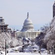US Capital Pennsylvania Avenue After the Snow Washington DC - Stock Photo