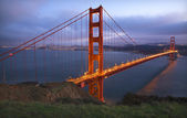 Headlands Golden Gate Bridge Evening with Lights San Francisco C — Stock Photo