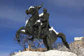 Jackson Statue Lafayette Park After Snow Pennsylvania Ave Washin — Stock Photo