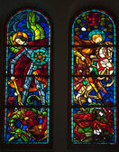 Notre Dame Cathedral Knights and Dragons Stained Glass Saigon Vi — Stock Photo