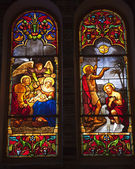 Notre Dame Cathedral Stained Glass Saigon Vietnam — Stock Photo
