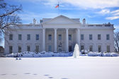 White House Fountain Flag After Snow Pennsylvania Ave Washington — Stock Photo