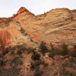 orange white checkerboard mesa stratified rocks zion canyon nati — Stock Photo