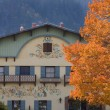 Fall Colors German Buildings Orange Maple Leaves Leavenworth Was — Stock Photo