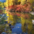 Fall Colors Rocks Wenatchee River Stevens Pass Leavenworth Washi - Stock Photo