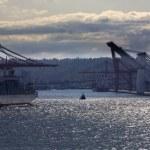 Port of Seattle Washington Freight Ship Tug Boat Cranes — Stock Photo