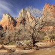 Court of Patricarchs Virgin River Zion Canyon National Park Utah - Stock Photo